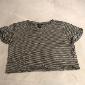 Grey and white striped Crop Tee